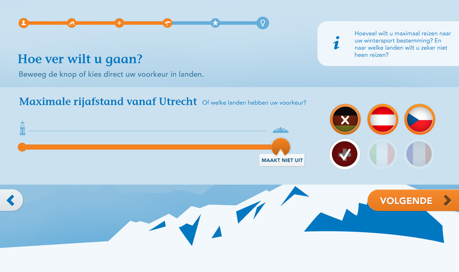 Step 3, user can choose the countries that they prefer or move the slider to choose the maximum travelling distance.